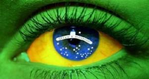 Occhio con i colori della bandiera del Brasile
